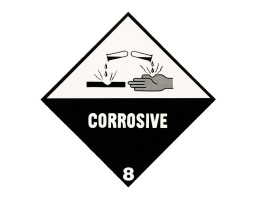 Triplex Warning Diamonds Double Sided Corrosive 8